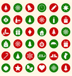 set of christmas icons on color background vector image vector image