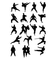 Taekwondo Karate and Wushoo Silhouettes vector image vector image