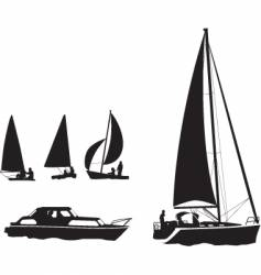 boat silhouettes vector image
