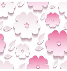 Floral background seamless pattern pink 3d sakura vector image
