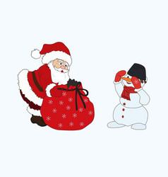 merry christmas snowman and santa claus bag gift vector image vector image