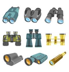 old and modern binoculars isolated cartoon vector image