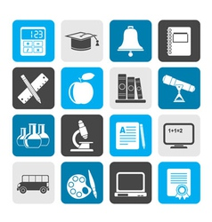 Silhouette Education and school objects icons vector image