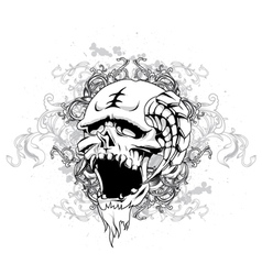 skull with floral and grunge vector image
