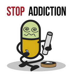 stop addiction marijuana conceptual vector image