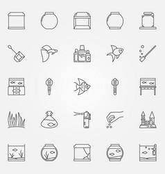 aquarium icons set vector image vector image
