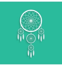 white dream catcher with shadow vector image vector image