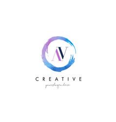av letter logo circular purple splash brush vector image