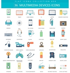 Multimedia devices flat icon set Elegant vector image vector image