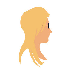 profile head blonde woman with sunglasses vector image