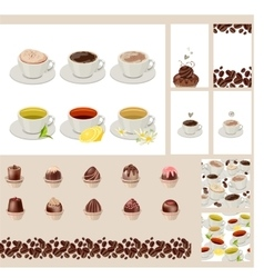 Set with different cups with tea and coffee vector image vector image