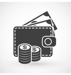 Wallet with money and coins icon vector image vector image