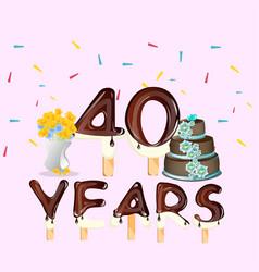 40th anniversary celebration design card vector