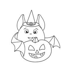 A cute fat bat in a magic hat carries a halloween vector