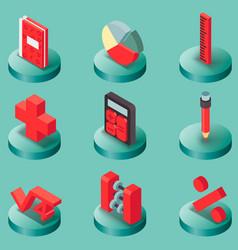 Algebra color isometric icons vector