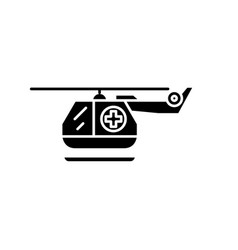 ambulance helicopter black icon sign on vector image