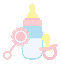 Babottle milk with maraca and pacifier vector