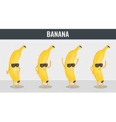 Banana Funny cartoon fruits Organic food vector