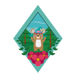 bear wooland animals cartoon vector image