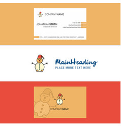 beautiful snowman logo and business card vertical vector image