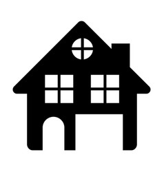 Black silhouette of house two floors and attic in vector