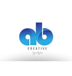 Blue gradient ab a b alphabet letter logo vector