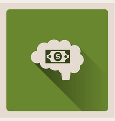 Brain thinking in money on green background with vector