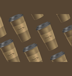 Brown pattern coffee cup mockup on background vector