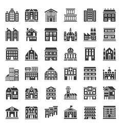 building construction solid icon set 13 vector image