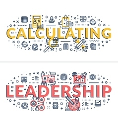 Calculating and Leadership headings titles vector
