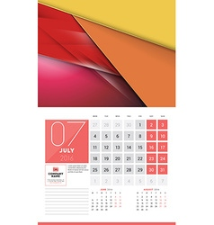 Calendar for 2016 Year July Design Clean Template vector