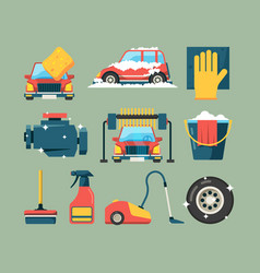Car wash service dirty machines in clean building vector