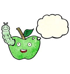 cartoon apple with bug with thought bubble vector image