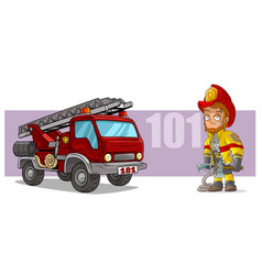 cartoon firefighter character and red fire truck vector image