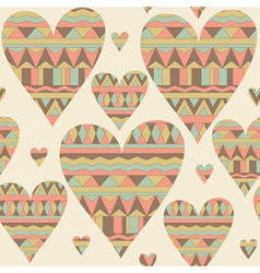 Cartoon hearts seamless pattern Tribal style vector