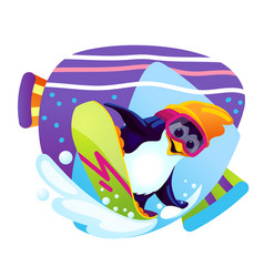 Cartoon penguin snowboarder vector