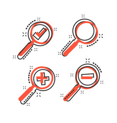 cartoon set of loupe icon in comic style vector image
