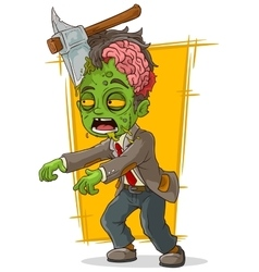 Cartoon walking green zombie with axe vector