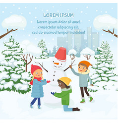 children making snowman on background of vector image