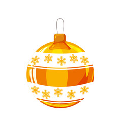 christmas ball yellow gold white colour vector image