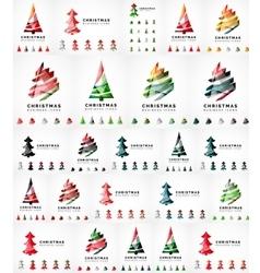 Christmas tree icon set geometric design vector