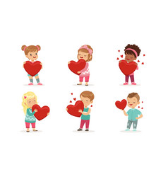 Collection cute little boys and girls holding vector