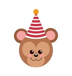 cute baby bear party hat vector image