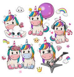 cute cartoon unicorns isolated on a white vector image