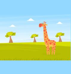 Cute giraffe on beautiful african landscape wild vector
