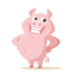 cute pig isolated on white vector image