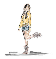 drawing girl fashion style vector image