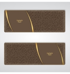 Elegant brown leather horizontal banner with two vector