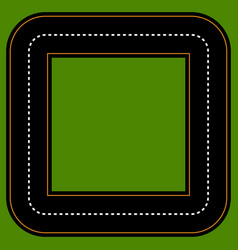 Empty square track racetrack with 2 lanes vector