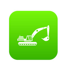 excavator icon digital green vector image